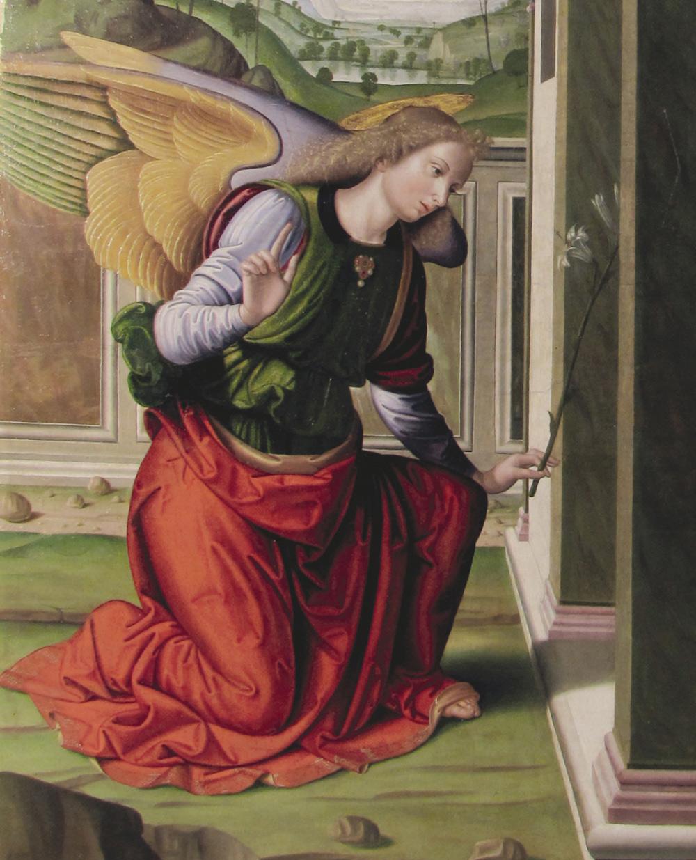 Giovanni Santi, Annunciazione, dettaglio