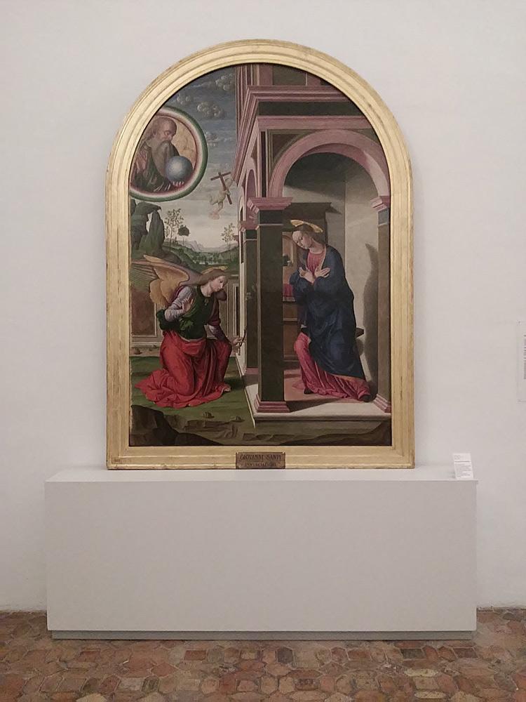 L'Annunciazione di Giovanni Santi esposta alla Galleria Nazionale delle Marche di Urbino