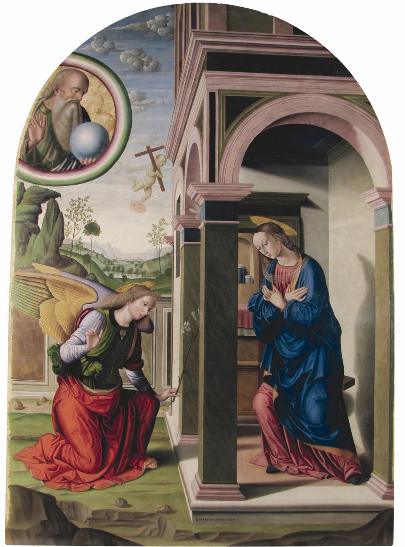 Giovanni Santi, Annunciazione (1489-1491 circa; olio su tavola, 260 x 187,2 cm; Urbino, Galleria Nazionale delle Marche, in deposito dalla Pinacoteca di Brera, Milano)