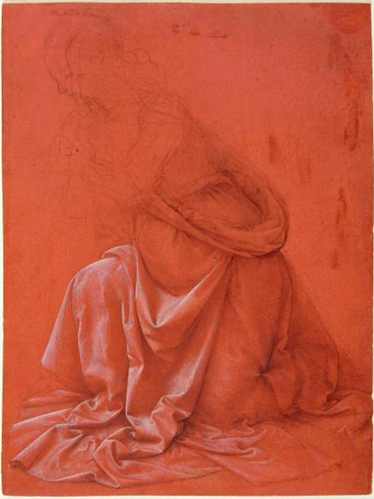 Leonardo da Vinci, Studio di panneggio (1473-1480 circa; disegno a biacca e punta di metallo su carta, 257 x 190 mm; Roma, Istituto Centrale per la Grafica, Gabinetto dei Disegni e delle Stampe, Fondo Corsini)