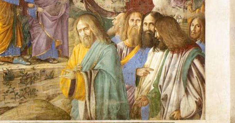 Melozzo da Forlì, particolare dei volti nell'Entrata di Cristo in Gerusalemme, affresco del Santuario della Santa Casa di Loreto