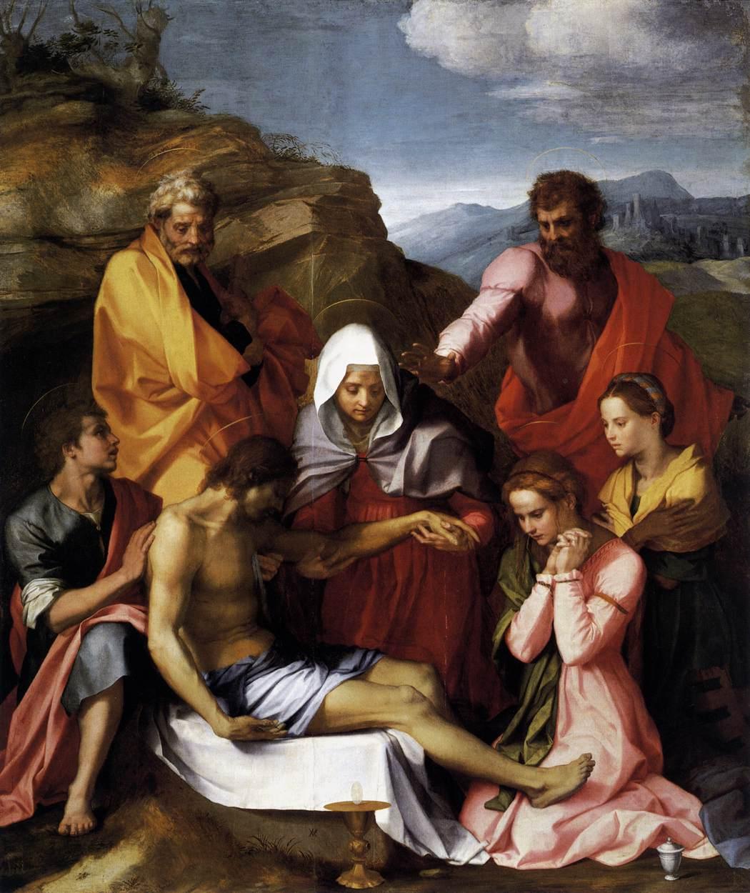 Andrea del Sarto, Pietà di Luco (1523; olio su tavola, 239 x 199 cm; Firenze, Galleria Palatina di Palazzo Pitti)