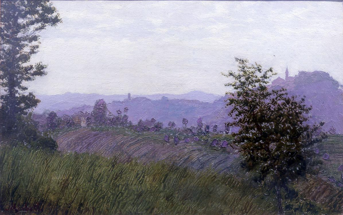 Angelo Morbelli, Colline del Monferrato (olio su tela, 23 x 37 cm; Collezione privata, courtesy Quadreria dell'800, Milano)