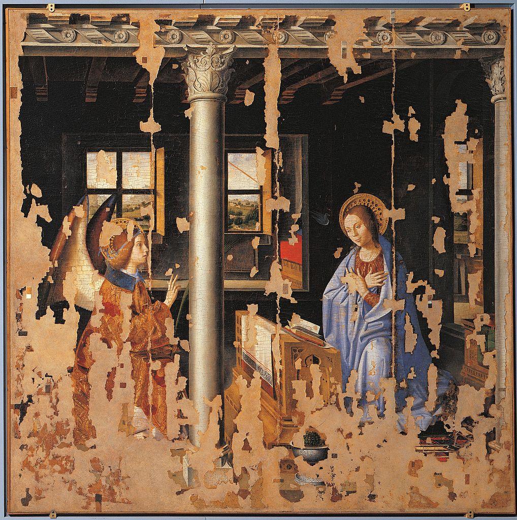 Antonello da Messina, Annunciazione (1474; olio su tavola trasportata su tela, 180 x 180 cm; Siracusa, Palazzo Bellomo)