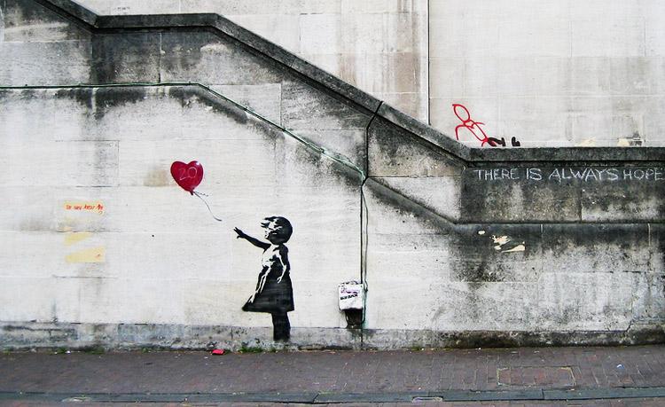 Banksy, Balloon girl (2002). Ph. Credit Dominic Robinson