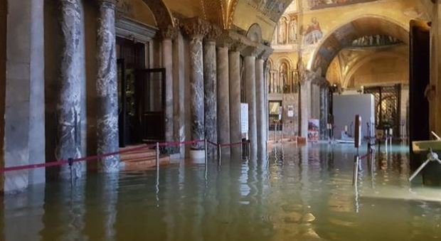 Venezia, allagata la Basilica di San Marco, danni ai pavimenti musivi