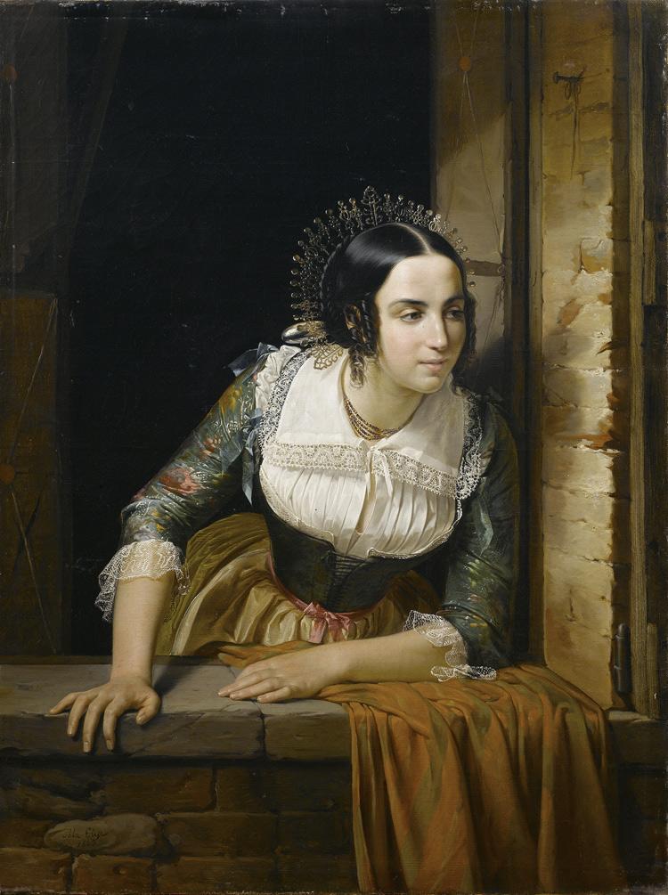 Eliseo Sala, Lucia Mondella che guarda dalla finestra se ritorna il suo fidanzato nel giorno stabilito per le nozze (1843; Collezione privata)