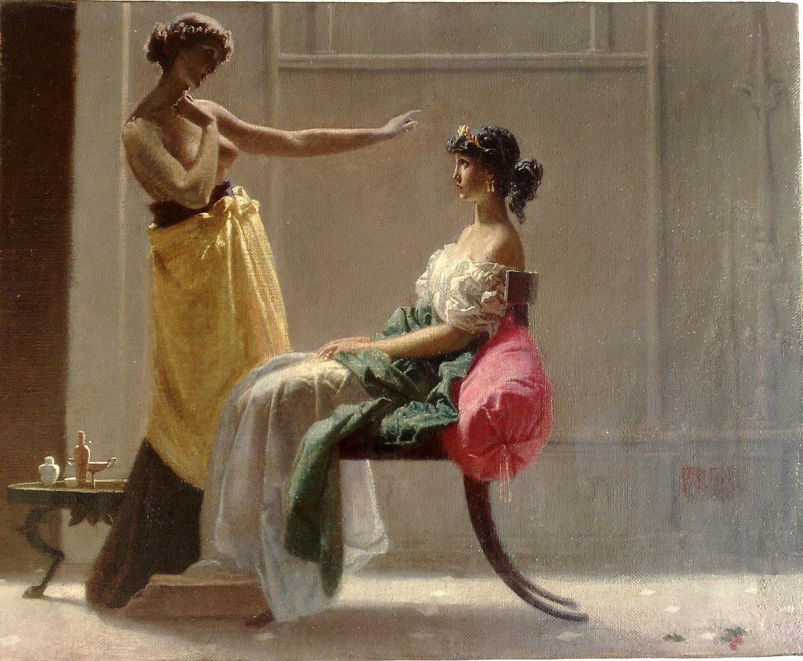 Federico Faruffini, La toeletta del mattino (1865; olio su tela, 40 x 49,5 cm; Collezione privata)