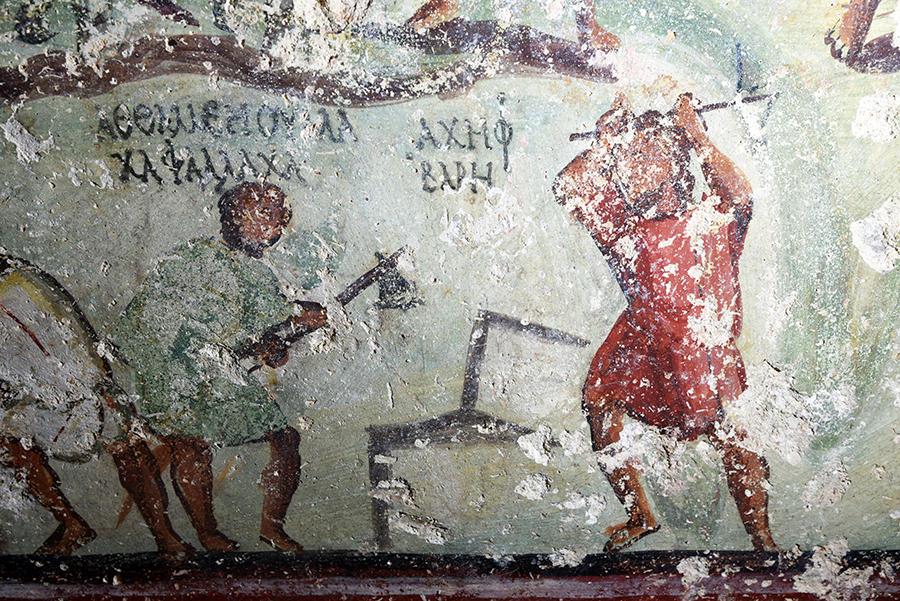 Straordinaria scoperta in Giordania, una tomba romana completamente dipinta a... fumetti greco-aramaici