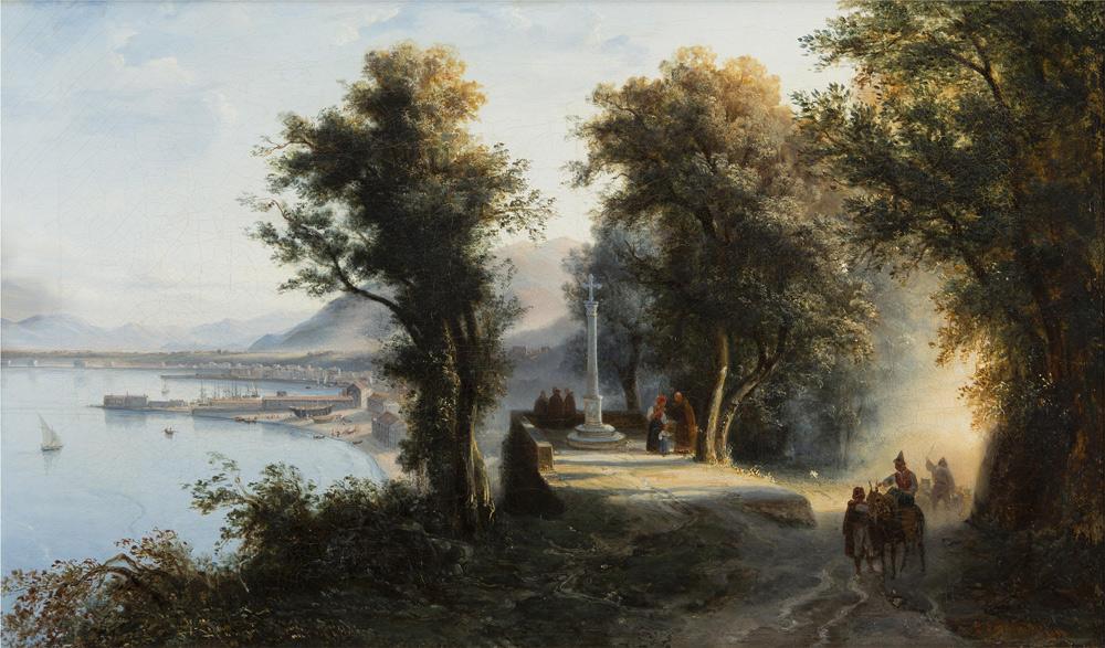 Gabriele Smargiassi, Veduta di Castellammare presa da Santa Maria di Pozzano (1833; Collezione privata)