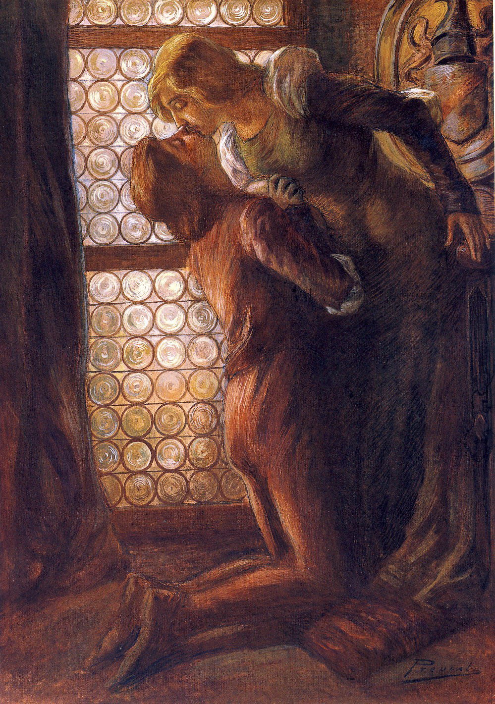 Gaetano Previati, Il bacio (Tempera su cartone, 63,5 x 43 cm; Collezione privata, courtesy Quadreria dell'800, Milano)