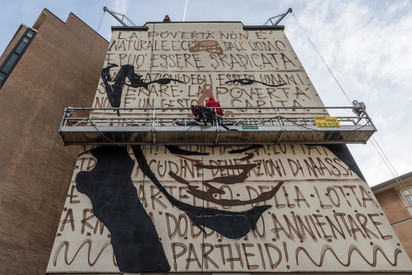 A Firenze sta nascendo un grande murale di Jorit Agoch dedicato a Nelson Mandela
