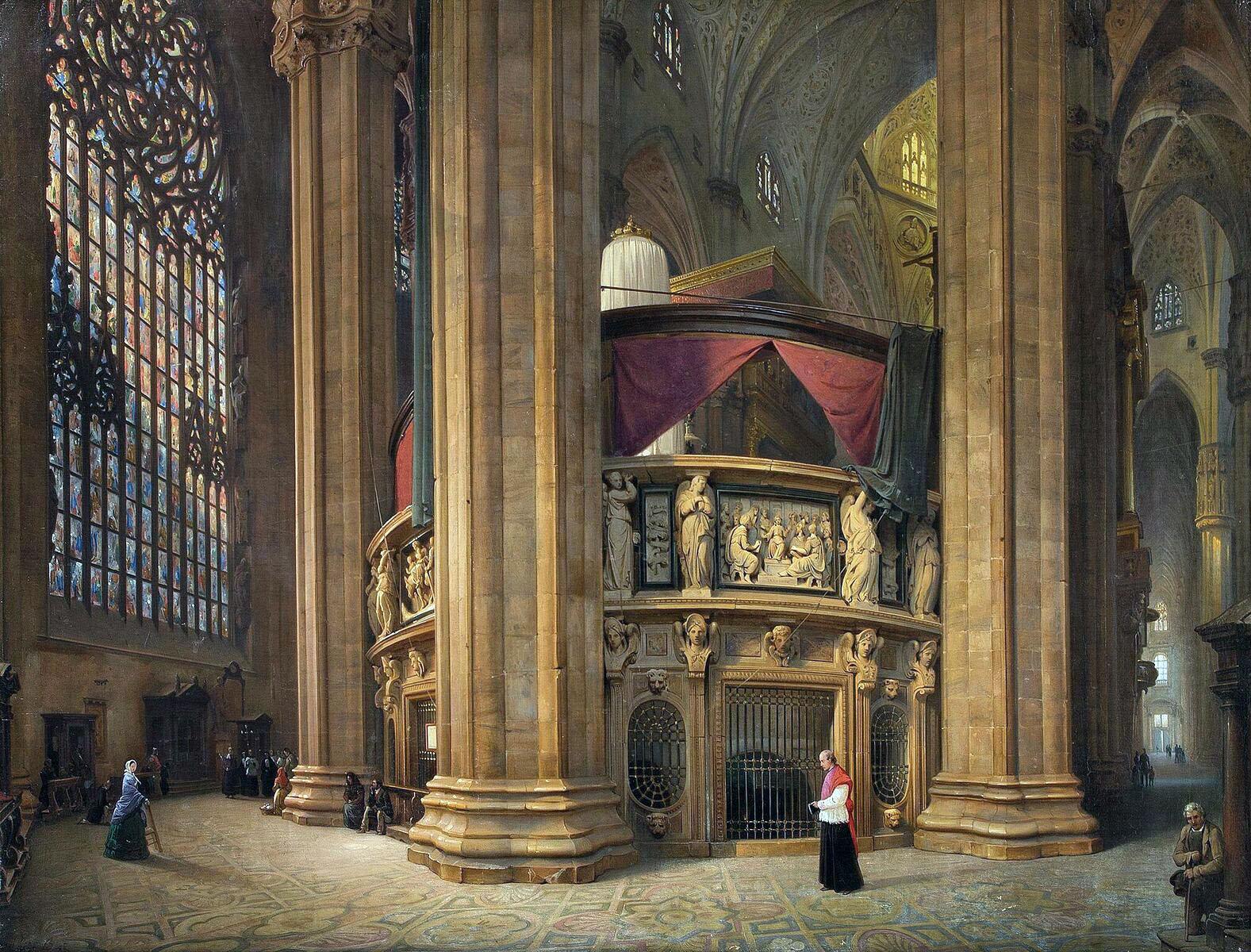 Luigi Bisi, Il tornacoro del Duomo di Milano (1860; olio su tela, 90 x 150 cm; Collezione privata, courtesy Quadreria dell'800, Milano)