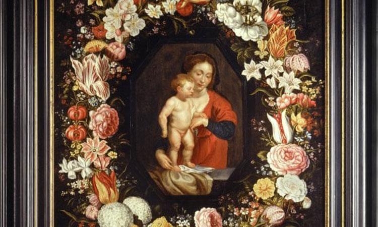 In mostra a Napoli la Madonna col Bambino in una ghirlanda di fiori