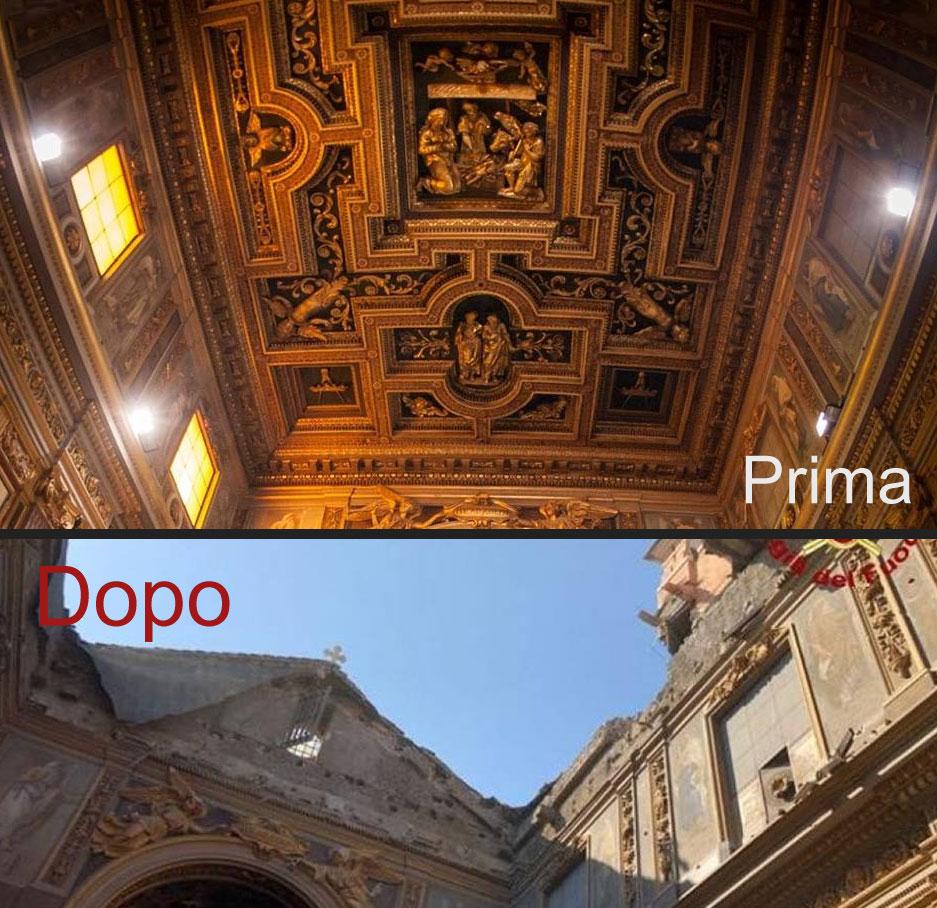 Roma, crollo in San Giuseppe dei Falegnami. Il soffitto cassettonato del '600 è distrutto, nessun danno al Carcere Mamertino