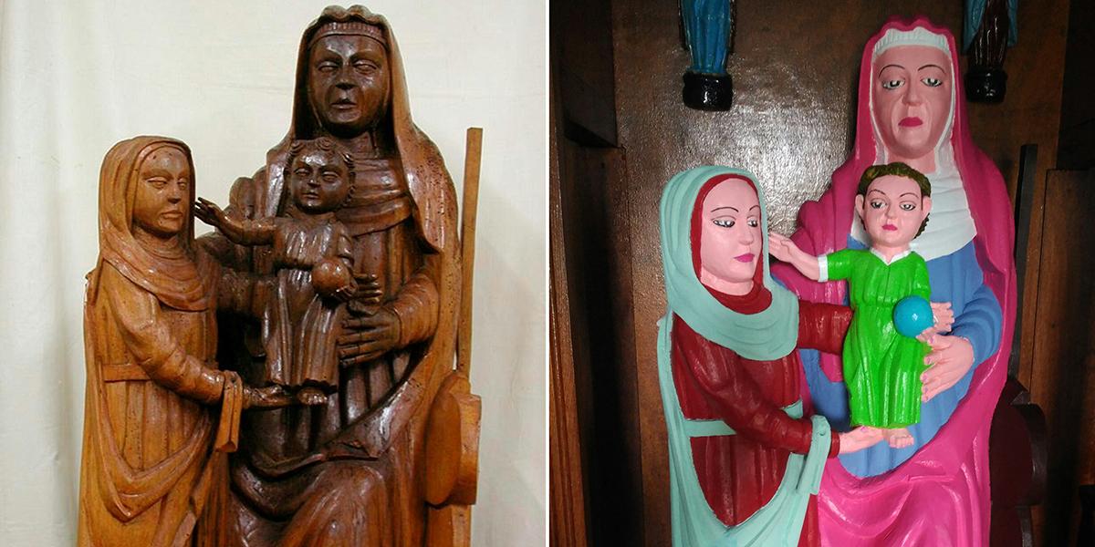 Dopo l'Ecce Homo di Borja, altro restauro atroce in Spagna: parrocchiana rovina gruppo ligneo del XV secolo