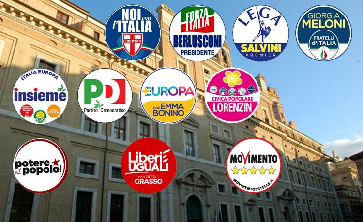 I principali partiti in lizza alle elezioni del 4 marzo 2018