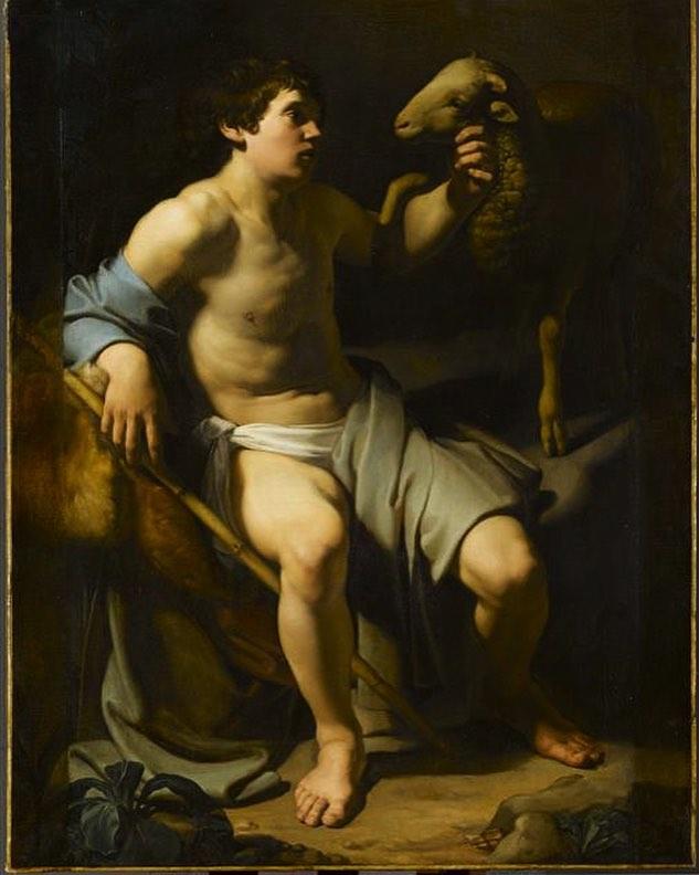 Bartolomeo Manfredi, San Giovanni Battista (1613-1615; olio su tela, 148 x 114 cm; Parigi, Louvre). Foto di René-Gabriel Ojéda