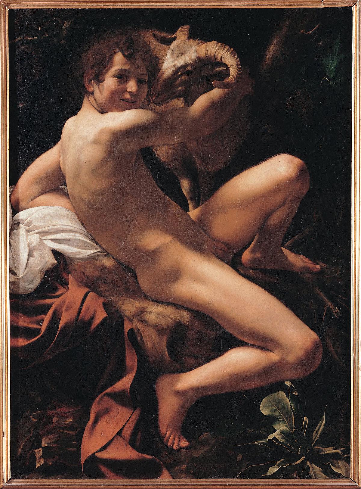 Caravaggio, San Giovanni Battista (1602; olio su tela, 129 x 94 cm; Roma, Musei Capitolini, Pinacoteca Capitolina)