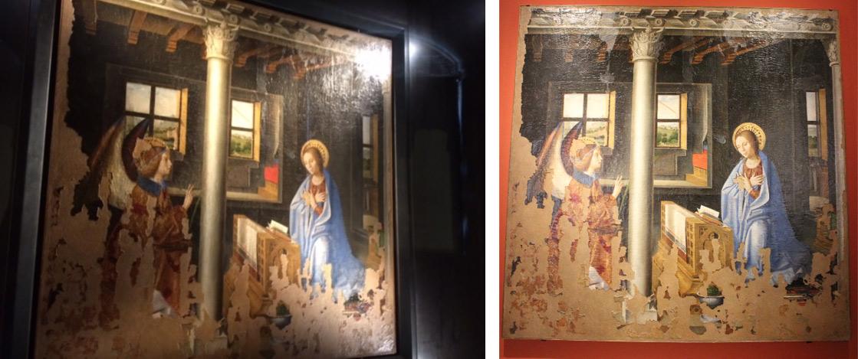 A sinistra, l'Annunciazione esposta (dentro la sua teca) a Palazzo Bellomo. A destra, l'opera esposta alla mostra di Palermo