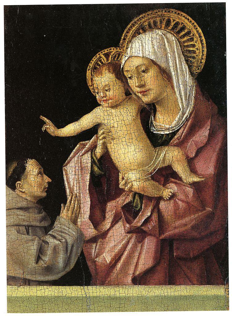 Antonello da Messina, Madonna col bambino benedicente e un francescano in adorazione, recto (1463; tempera grassa su tavola, 16 x 11,9 cm; Messina, Museo Regionale)