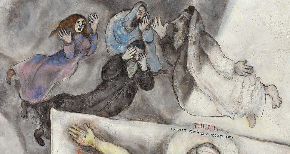 Marc Chagall, Crocifissione bianca, dettaglio, le figure disperate nel registro superiore