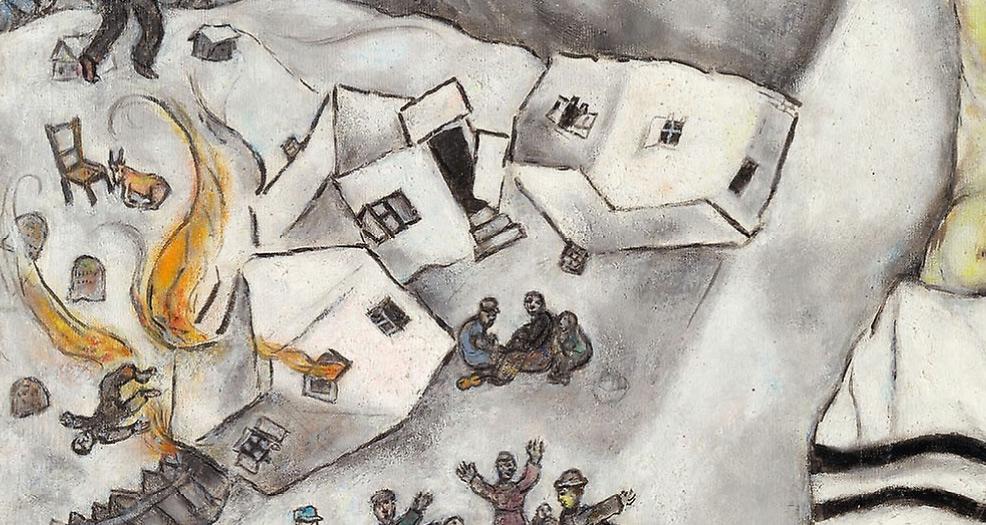 Marc Chagall, Crocifissione bianca, dettaglio, il villaggio distrutto