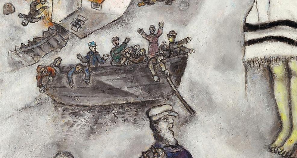 Marc Chagall, Crocifissione bianca, dettaglio, la barca dei profughi