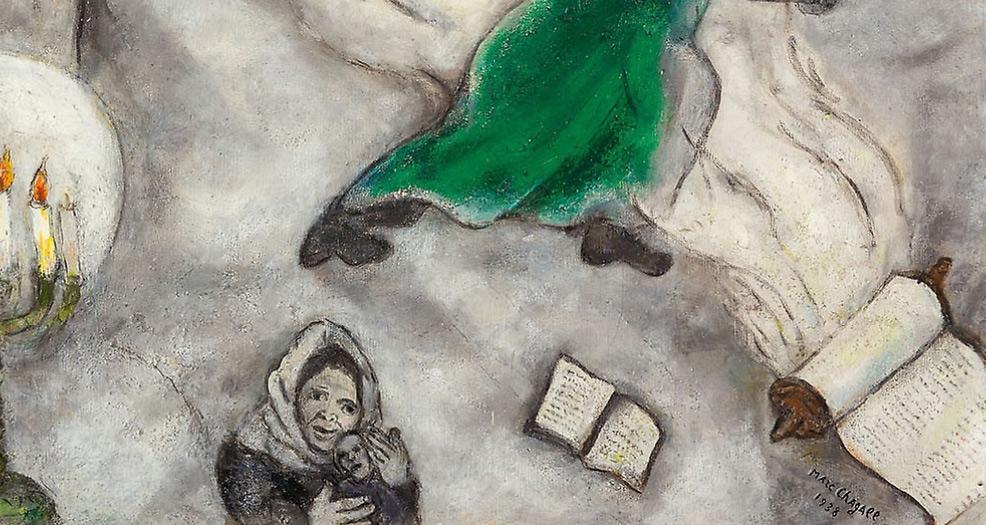 Marc Chagall, Crocifissione bianca, dettaglio, la madre col bambino