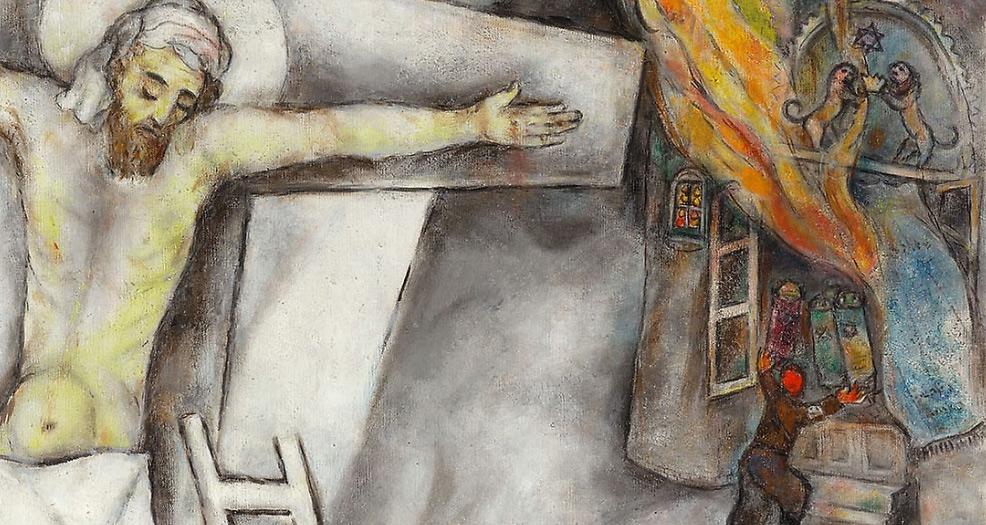 Marc Chagall, Crocifissione bianca, dettaglio, la sinagoga in fiamme