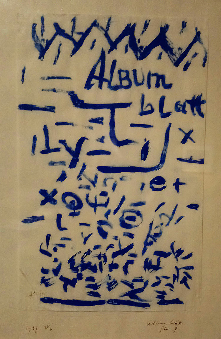 Paul Klee, Album Blatt für Y, Foglio d'album per Y (1937; gouache su carta 33 × 22cm; Bologna, Ponte Ronca di Zola Predosa,  Ca' la Ghironda – ModernArtMuseum)
