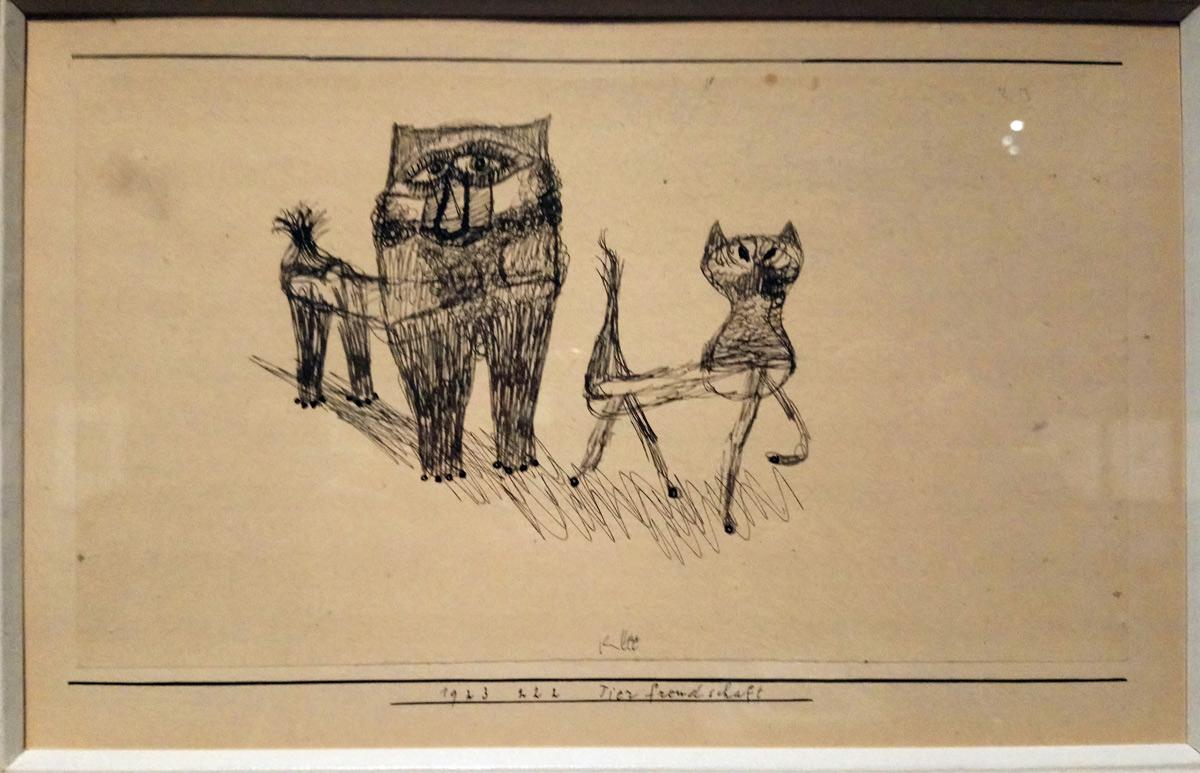 Paul Klee, Tierfreundschaft, Amicizia tra animali (1923; penna su carta su cartoncino, 15,5 × 24,5cm Collezione privata)