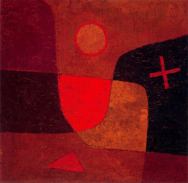 Paul Klee, Angelo in divenire, Engel im Werden (1934; olio su tela preparata su compensato, 51 × 51cm; Svizzera, Collezione privata, in deposito permanente al Zentrum Paul Klee, Bern)