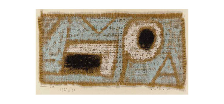 Paul Klee, Initiale A, Iniziale A (1938; pastello su juta su cartone, 12 × 24,1cm; Lucerna, Galerie Rosengart)