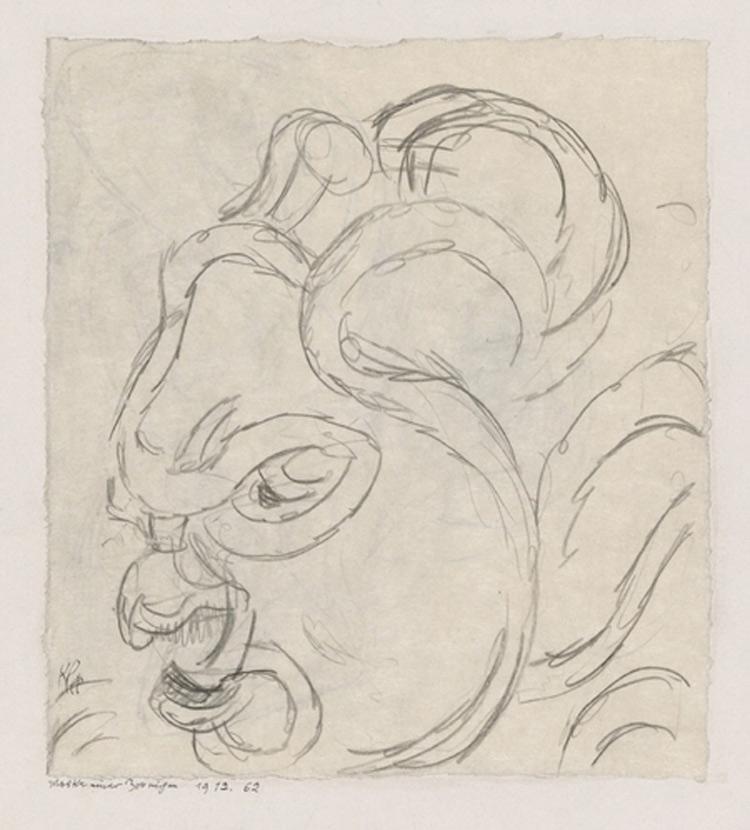Paul Klee, Maske einer Zornigen, Maschera di adirata (1912; gessetto su carta su cartone 17,6 × 15,7,cm Berna, Zentrum Paul Klee)