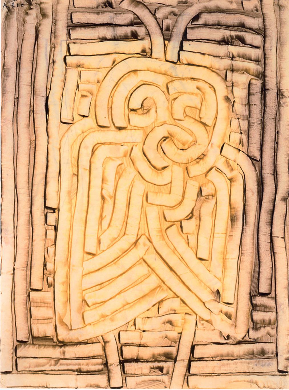Paul Klee, Maske Motte, Maschera falena (1933; colore a colla su carta, sul retro disegno a matita con colore a colla, 42,6 × 32cm; Ulm, Museum Ulm - Geschenk der Freunde  des Ulmer Museums)