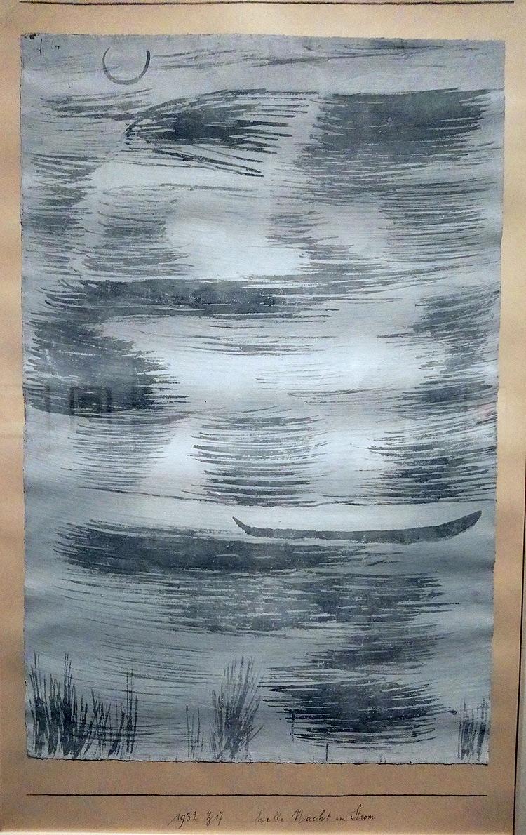 Paul Klee, Helle Nacht am Strom, Notte luminosa presso il fiume (1932; gouache e acquerello su carta sucartoncino, 58,1 × 38,2cm; Essen, Museum Folkwang)