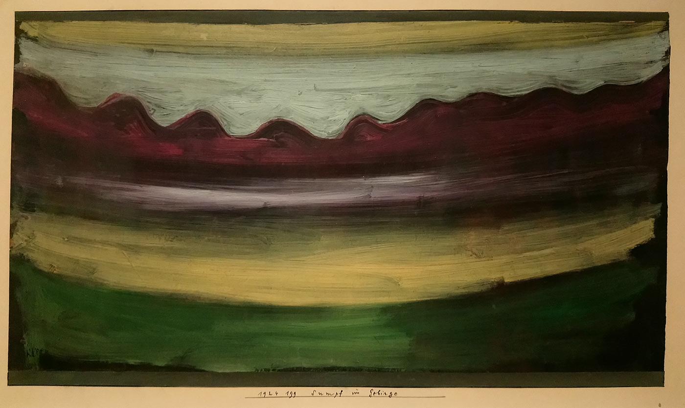 Paul Klee, Sumpf im Gebirge, Palude tra i monti (1924; olio su carta preparata a olio nero sucartone, 18,5 × 34,5cm; Svizzera, Collezione privata, indeposito permanente al Zentrum Paul Klee, Berna)