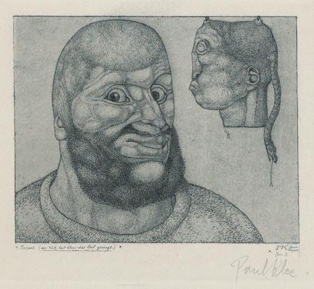 Paul Klee, Perseus (der Witz hat über das Leid gesiegt), Perseo (Lo scherzo ha il sopravvento suldolore) (1904; acquaforte, 12,6 × 14cm; Svizzera, Collezione privata, indeposito permanente al Zentrum Paul Klee, Berna)