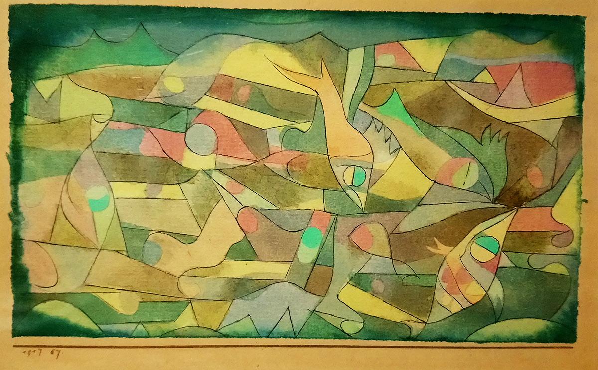 Paul Klee, Spielende Fische – miniaturartig, Pesci che giocano (miniaturistico) (1917; acquerello, penna e matita su carta su cartoncino 9,5 × 16cm; Collezione privata)