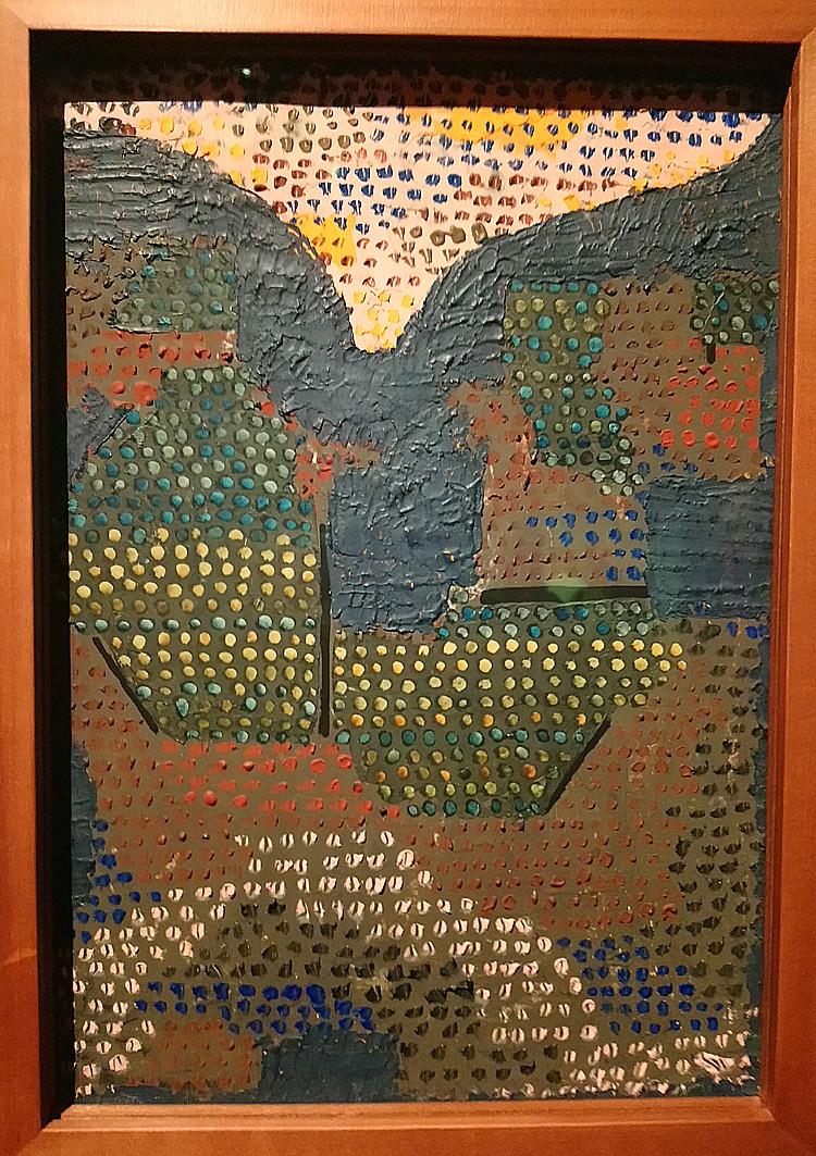 Paul Klee, Abend im Tal, Sera nella valle (1932; olio su cartone, 33,5 × 23,3cm; Svizzera, Collezione privata, indeposito permanente  al Zentrum Paul Klee, Berna)