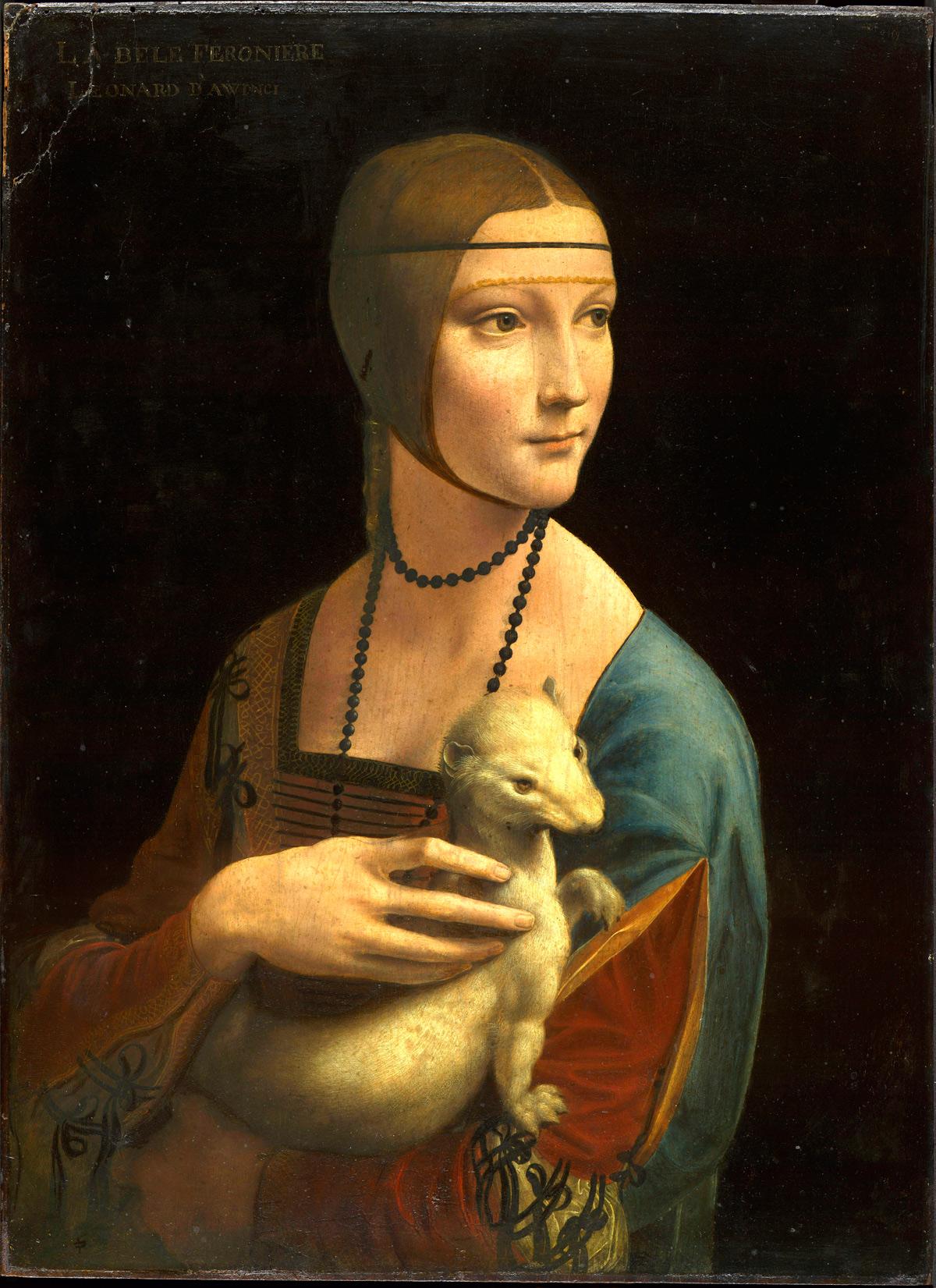 Leonardo da Vinci, Dama con l'ermellino (1488-1490; olio su tavola, 54,8 x 40,3 cm; Cracovia, Museo Nazionale di Cracovia)