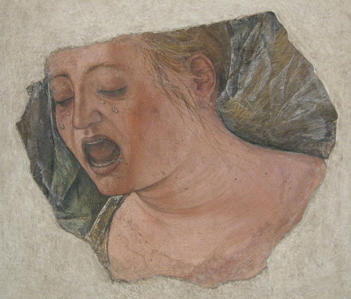 Ercole de' Roberti, Volto di Maddalena piangente (1478-1486; affresco, 24,5 x 28,5 cm; Bologna, Pinacoteca Nazionale)