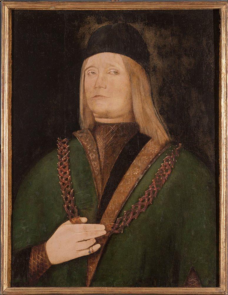Ercole de' Roberti, Ritratto di Giovanni II Bentivoglio (1485 circa; tavola, 64 x 49,5 cm; Bologna, Museo di Palazzo Poggi)