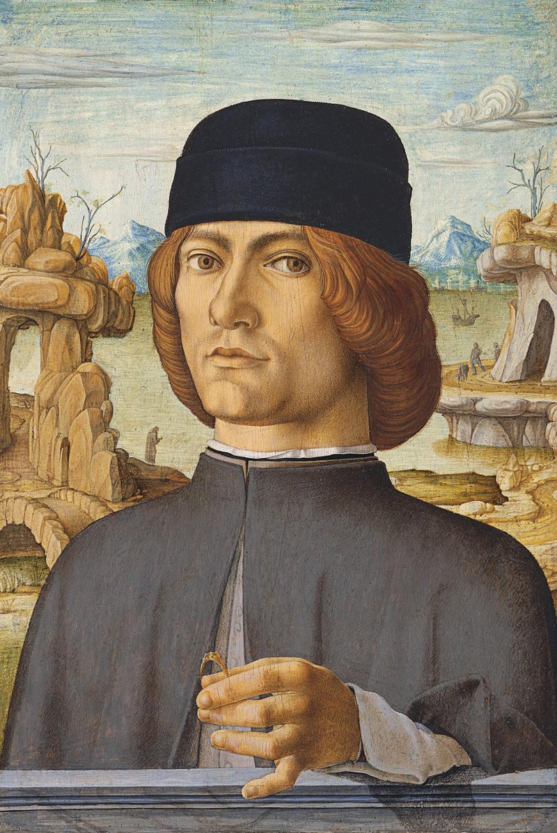 Francesco del Cossa, Ritratto d'uomo con anello (1472-1477 circa; tempera su tavola, 38,5 x 27,5 cm; Madrid, Museo Nacional Thyssen-Bornemisza)