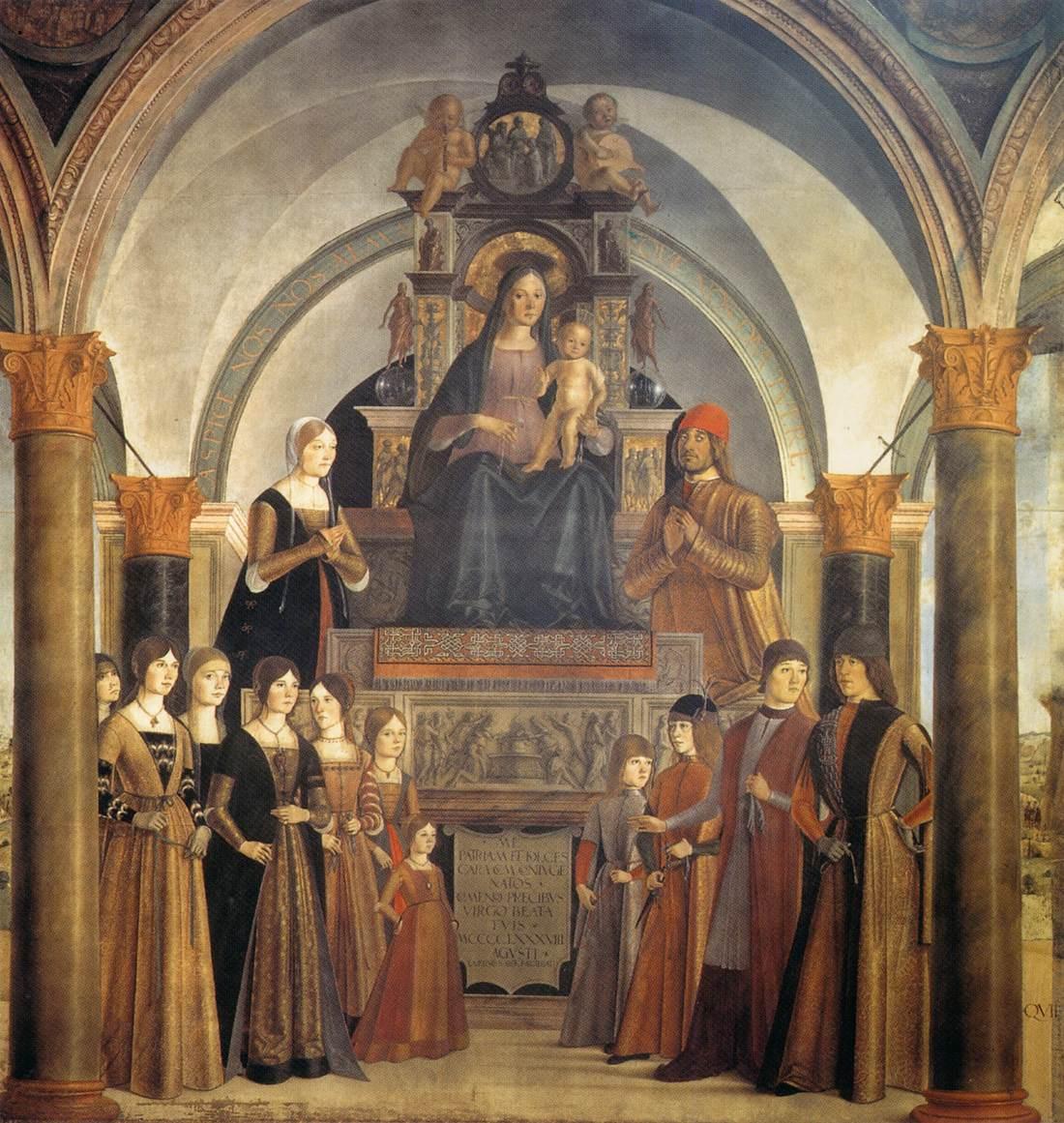 Lorenzo Costa, Pala Bentivoglio (1488; tempera su tavola; Bologna, San Giacomo Maggiore)