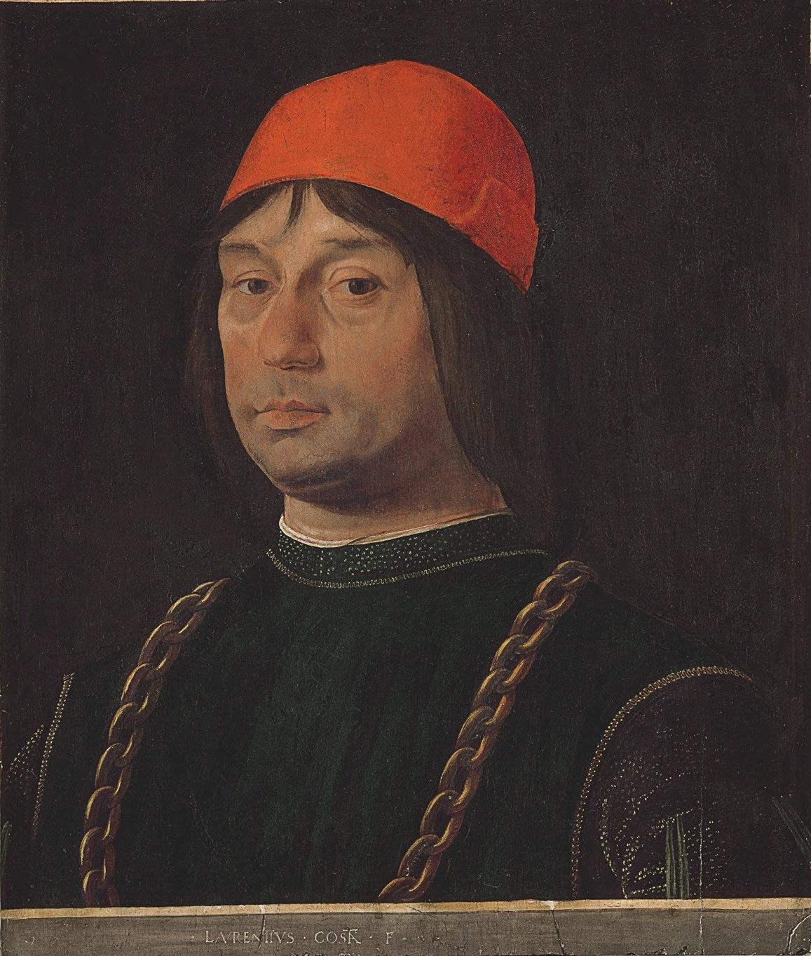 Lorenzo Costa, Ritratto di Giovanni II Bentivoglio (1490 circa; tempera su tavola, 55 x 47 cm; Firenze, Galleria degli Uffizi)