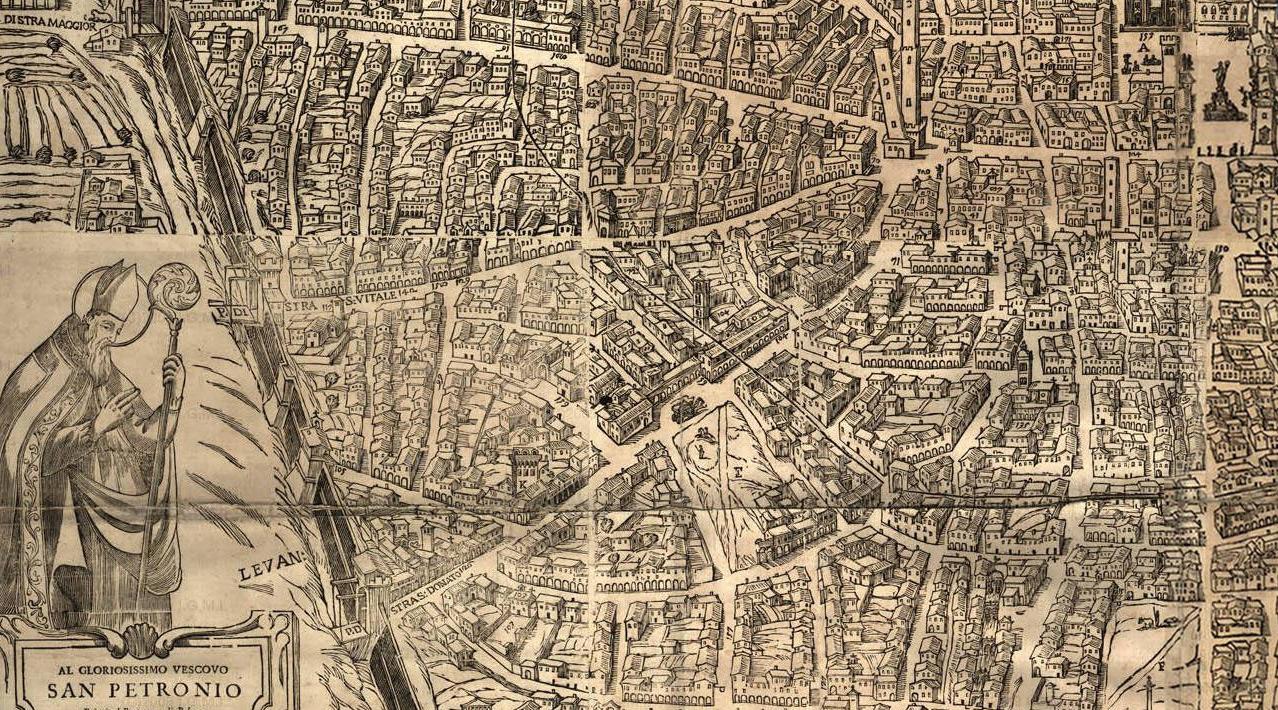 La mappa di Bologna realizzata nel 1638 da Matteo Borboni (e poi aggiornata nel 1724) con, in basso a sinistra, ancora le macerie sul luogo del guasto dei Bentivoglio, tra le odierne via Zamboni e via delle Belle Arti
