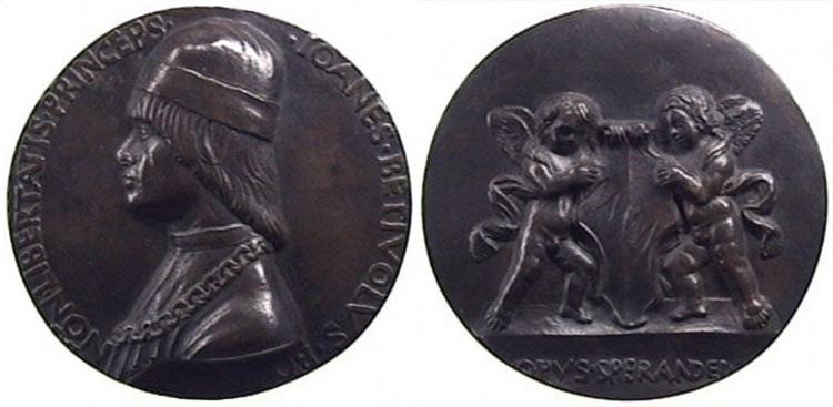 Sperandio Savelli, Medaglia di Giovanni II Bentivoglio (1462 circa; bronzo, diametro 110 mm; Bologna, Museo di Palazzo Poggi, in deposito dal Museo Civico Archeologico)