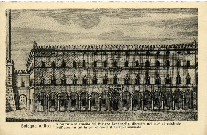 Ricostruzione ideale di Palazzo Bentivoglio in un'incisione ottocentesca